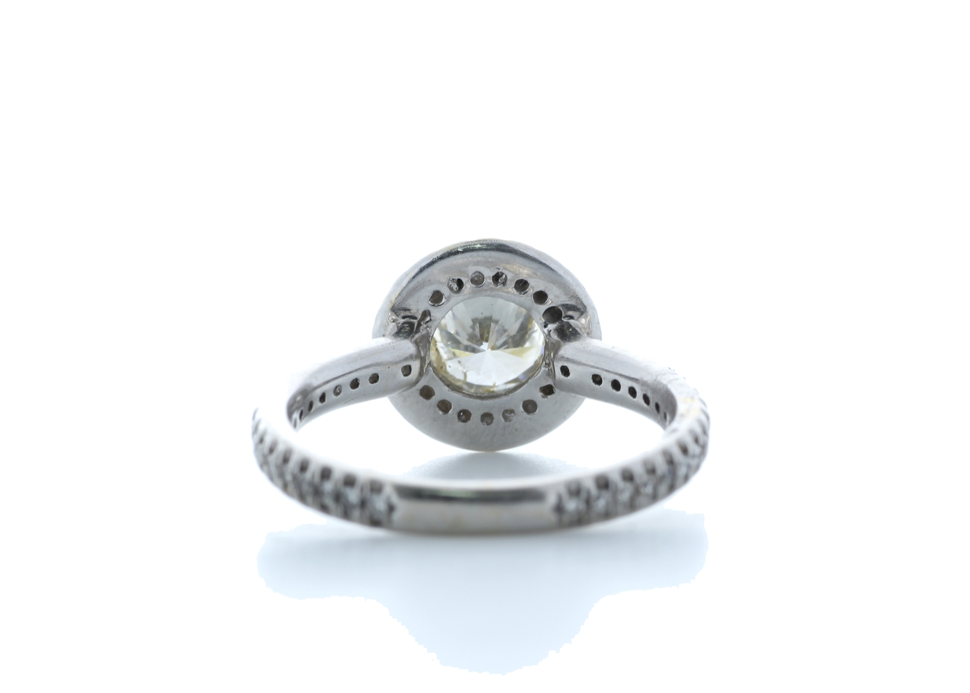 18ct White Gold Single Stone With Halo Setting Ring 1.39 Carats - Image 3 of 5