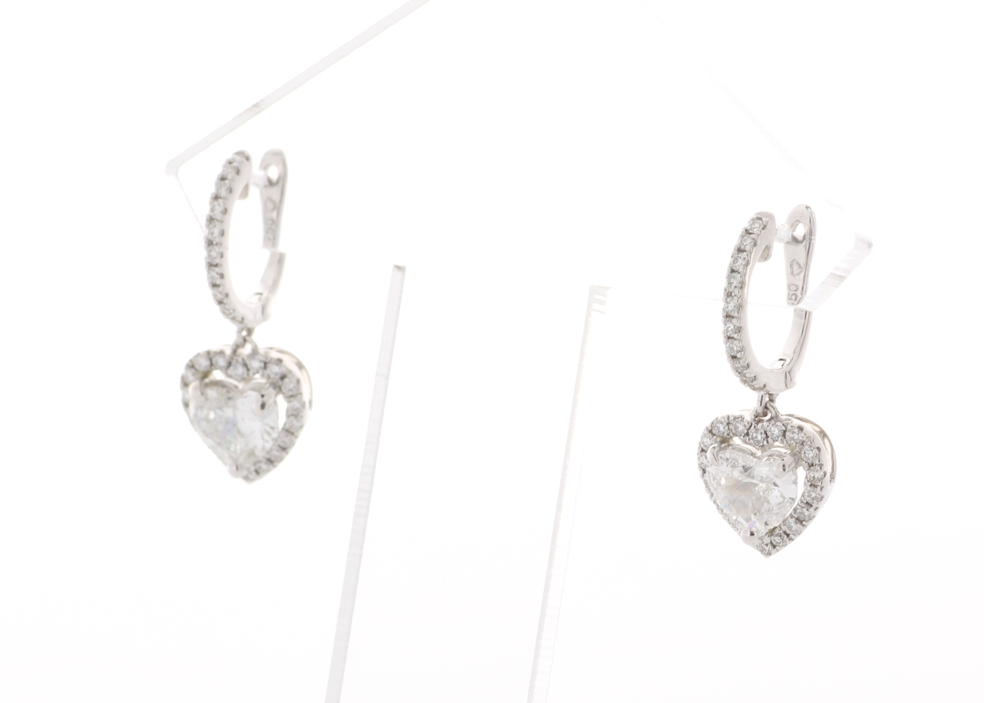 18ct White Gold Heart Shape Halo Drop Earring 1.74 Carats - Image 2 of 4