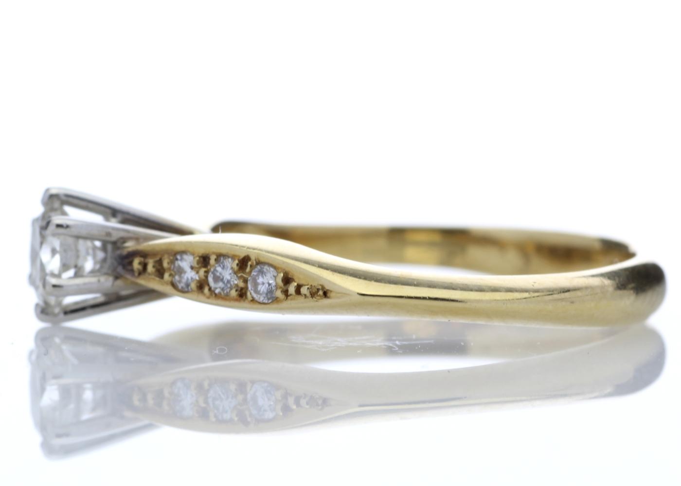 18ct Stone Set Shoulders Diamond Ring 0.42 Carats - Image 3 of 4