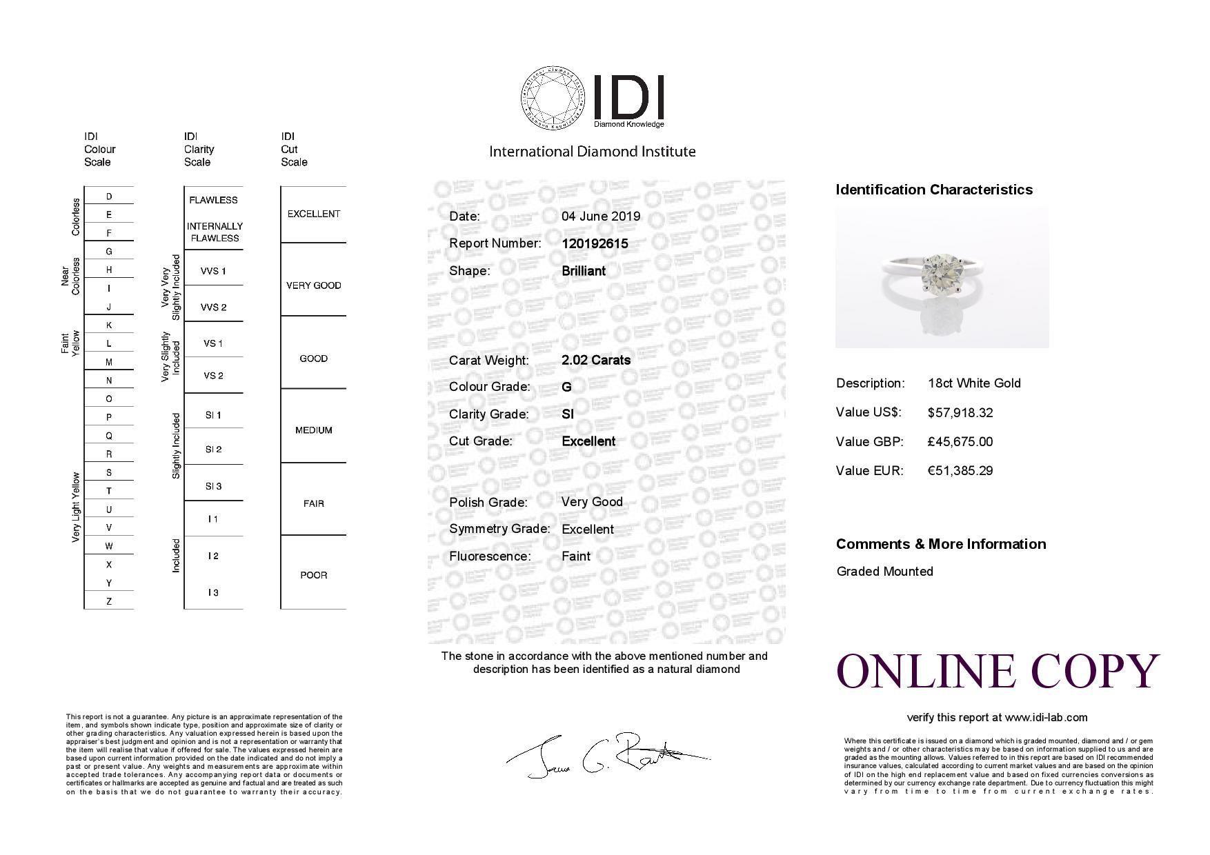 18ct White Gold Single Stone Prong Set Diamond Ring 2.02 Carats - Image 5 of 5