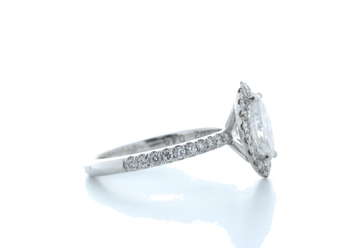 18ct White Gold Marquise Diamond With Halo Setting Ring 1.51 (1.02) Carats - Image 4 of 5