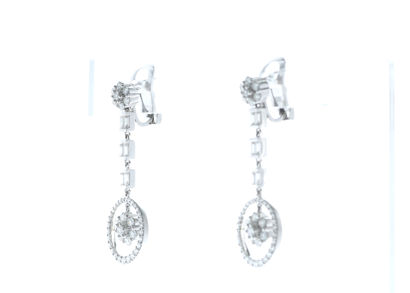 18ct White Gold Diamond Drop Cluster Earrings 1.84 Carats - Image 2 of 4