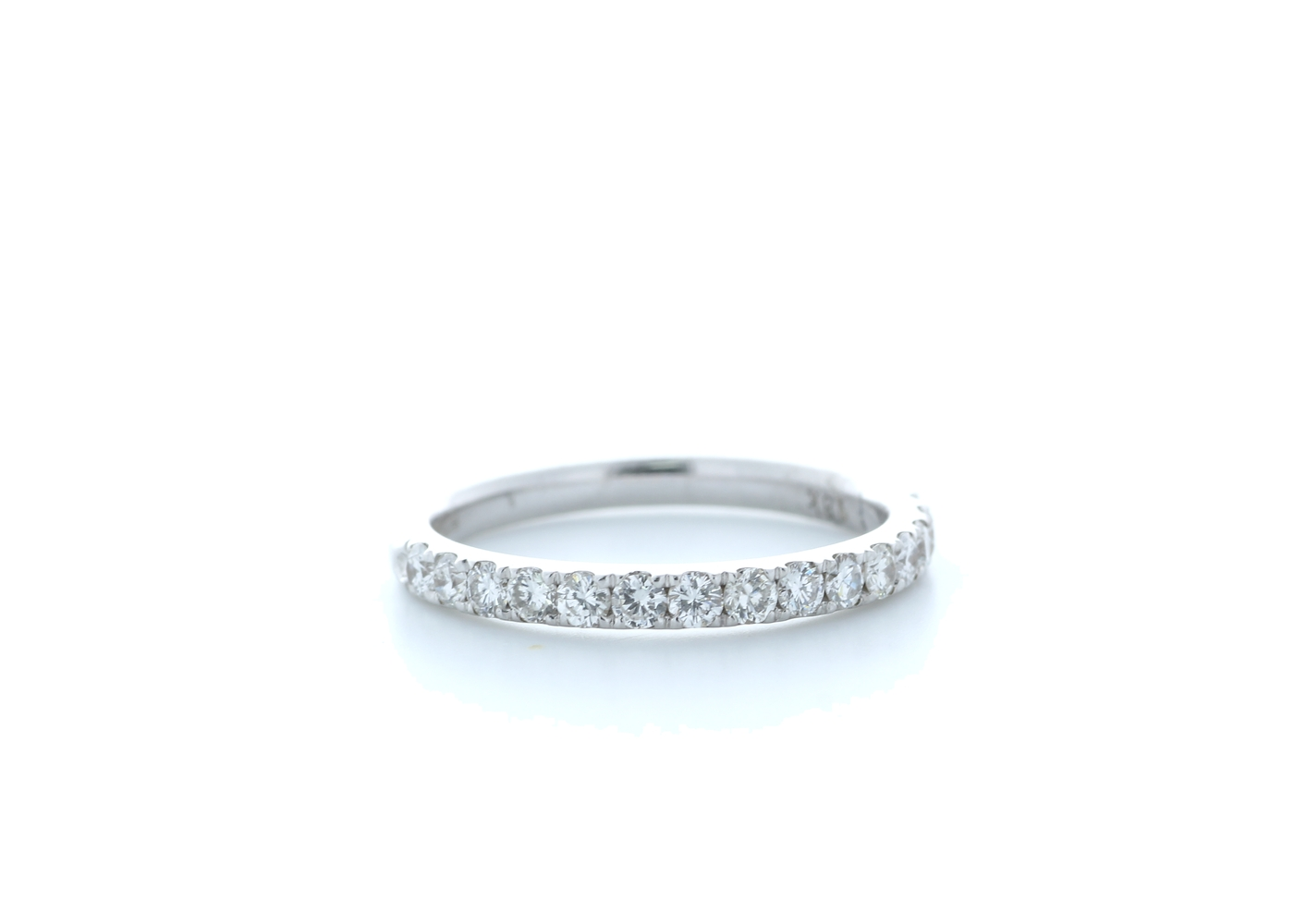18ct White Gold Claw Set Semi Eternity Diamond Ring 0.44 Carats