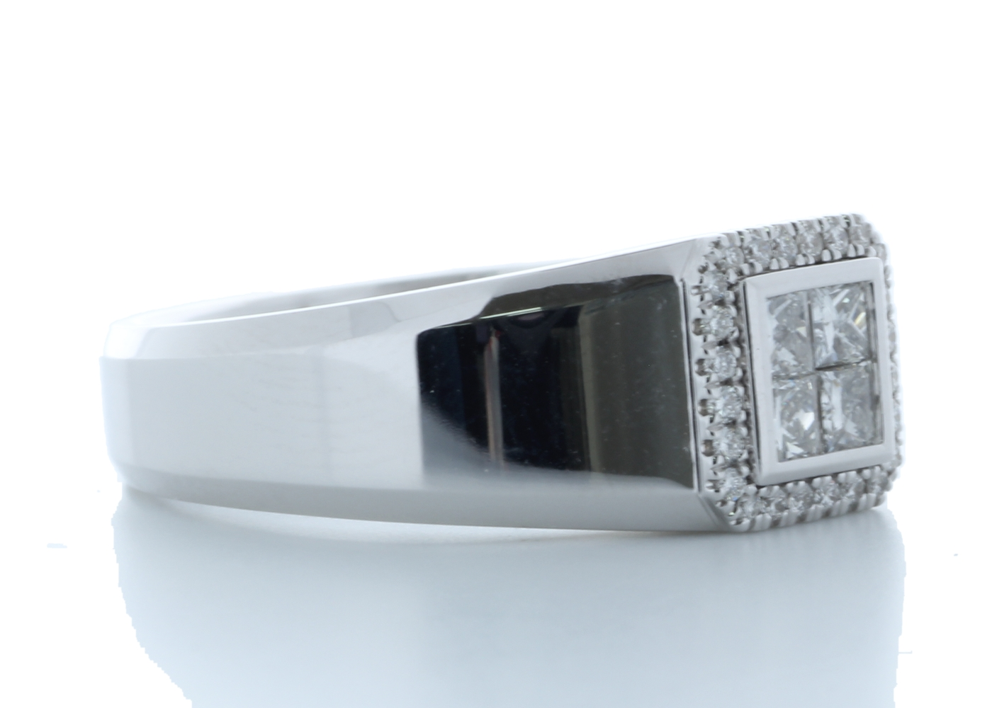 18ct White Gold Single Stone with halo Illusion Set Diamond Ring 0.50 Carats - Image 4 of 4