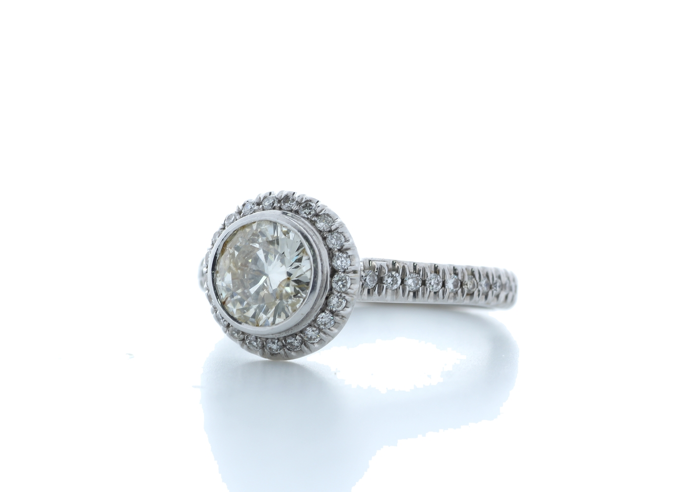 18ct White Gold Single Stone With Halo Setting Ring 1.39 Carats - Image 2 of 5