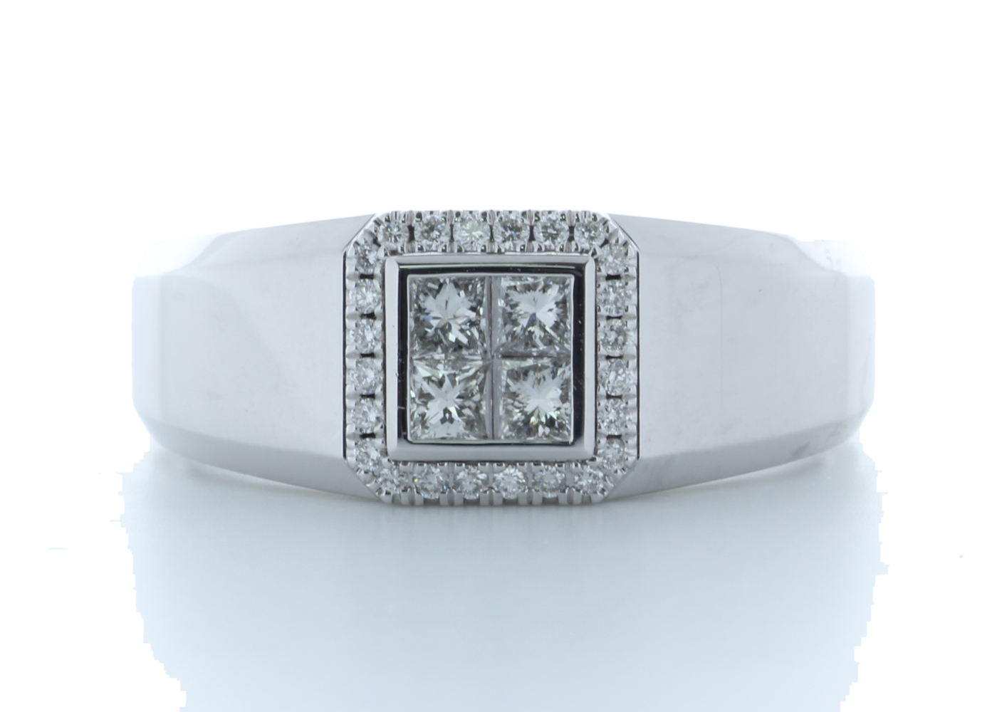 18ct White Gold Single Stone with halo Illusion Set Diamond Ring 0.50 Carats