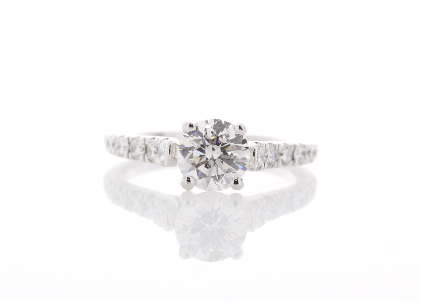 18ct White Gold Stone Set Shoulders Diamond Ring 1.47 Carats