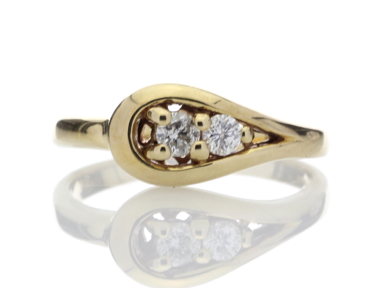 9ct Two Stone Claw Set Diamond Ring 0.18 Carats