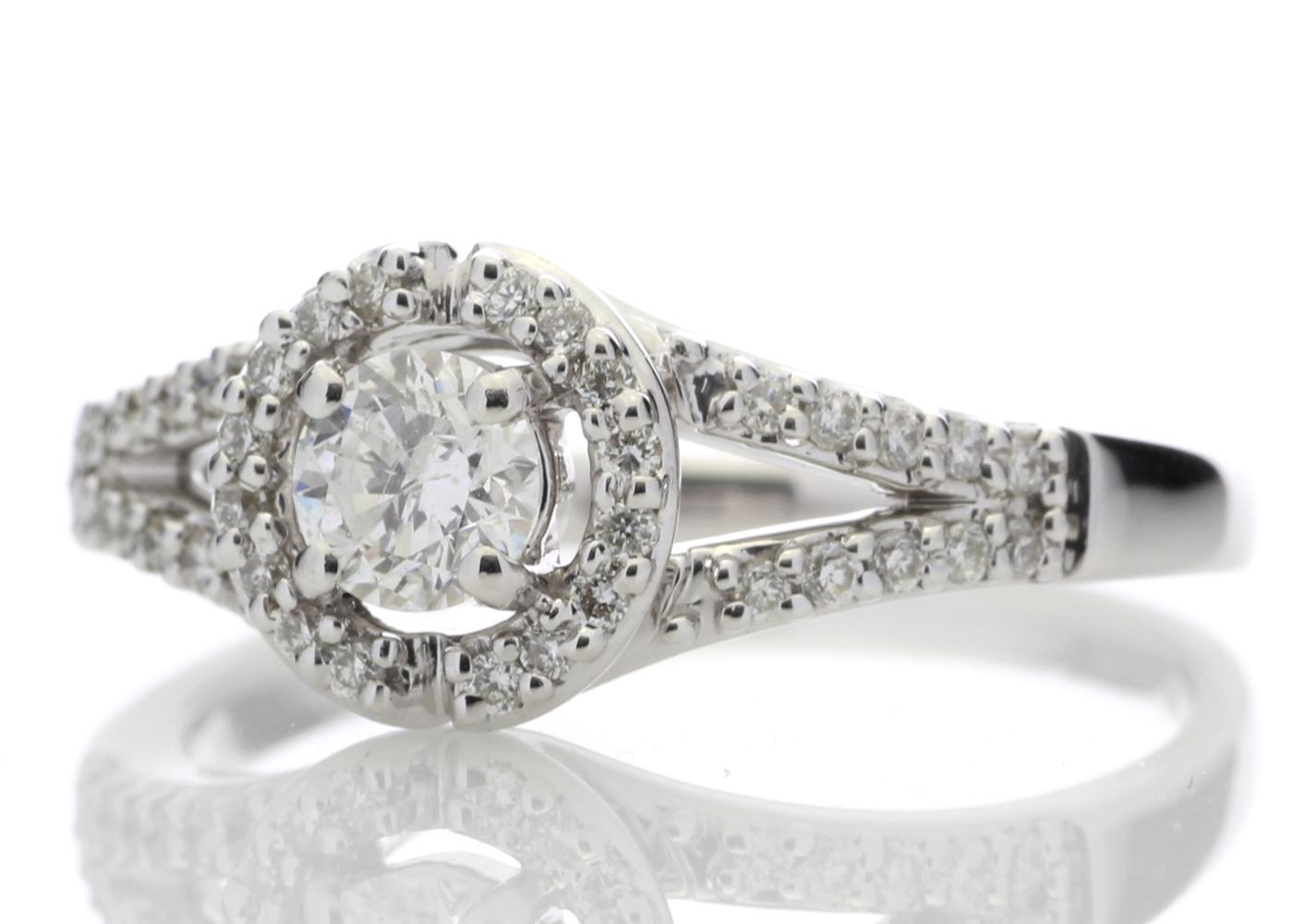 18ct White Gold Halo Set Diamond Ring 0.54 Carats - Image 2 of 4