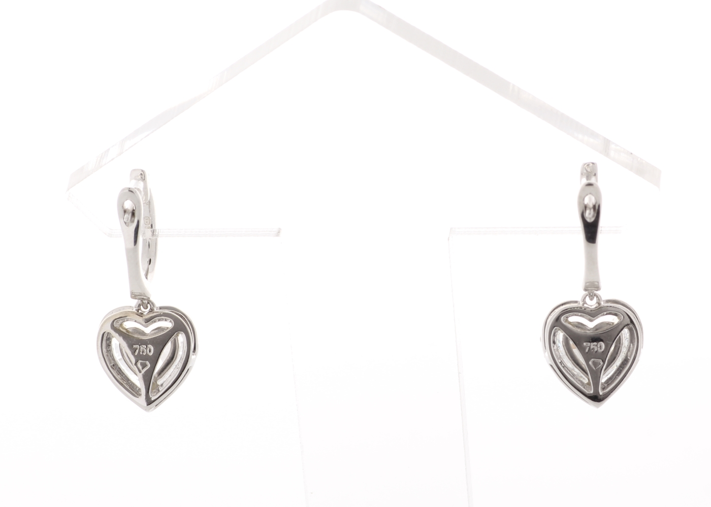 18ct White Gold Heart Shape Halo Drop Earring 1.74 Carats - Image 4 of 4