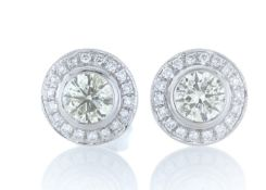 18ct White Gold Halo Set Diamond Earrings 1.20 Carats