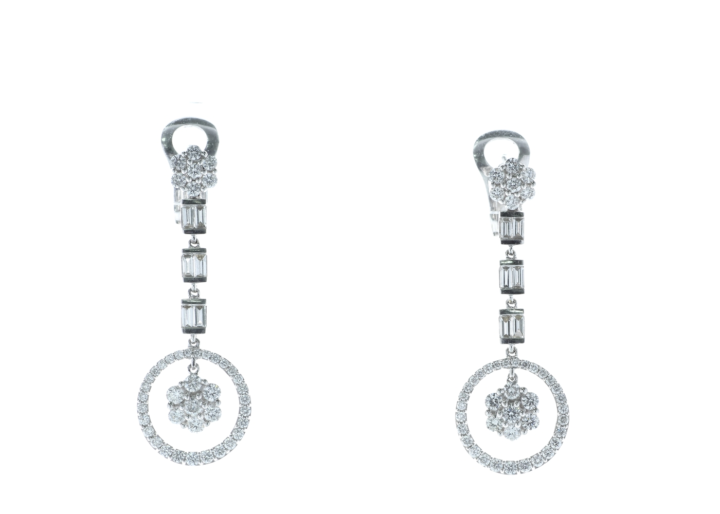18ct White Gold Diamond Drop Cluster Earrings 1.84 Carats