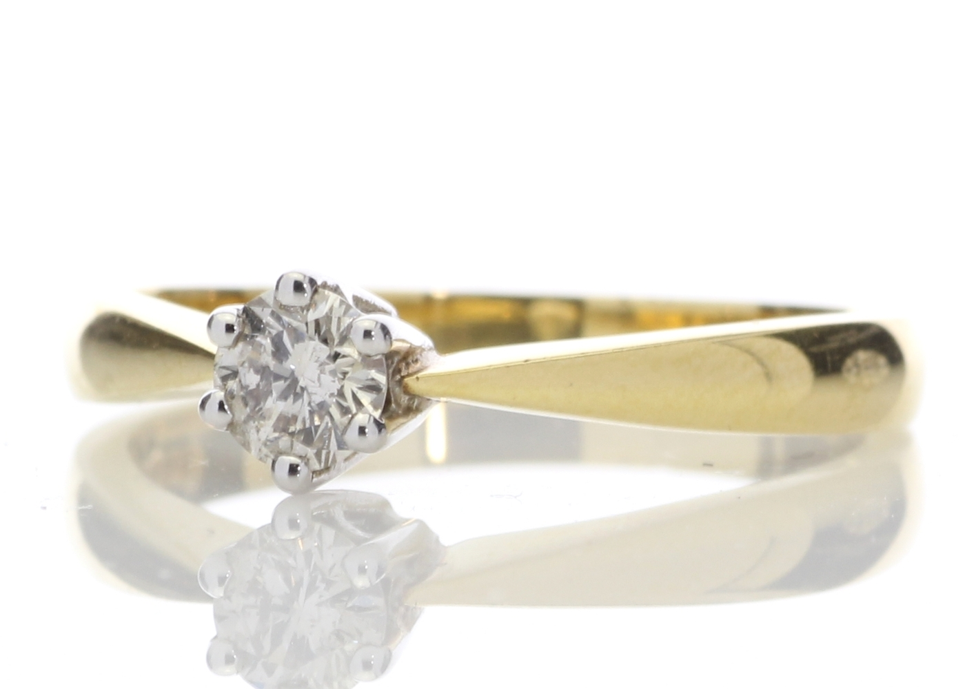 18ct Yellow Gold Six Claw Set Diamond Ring H SI 0.25 Carats - Image 2 of 4