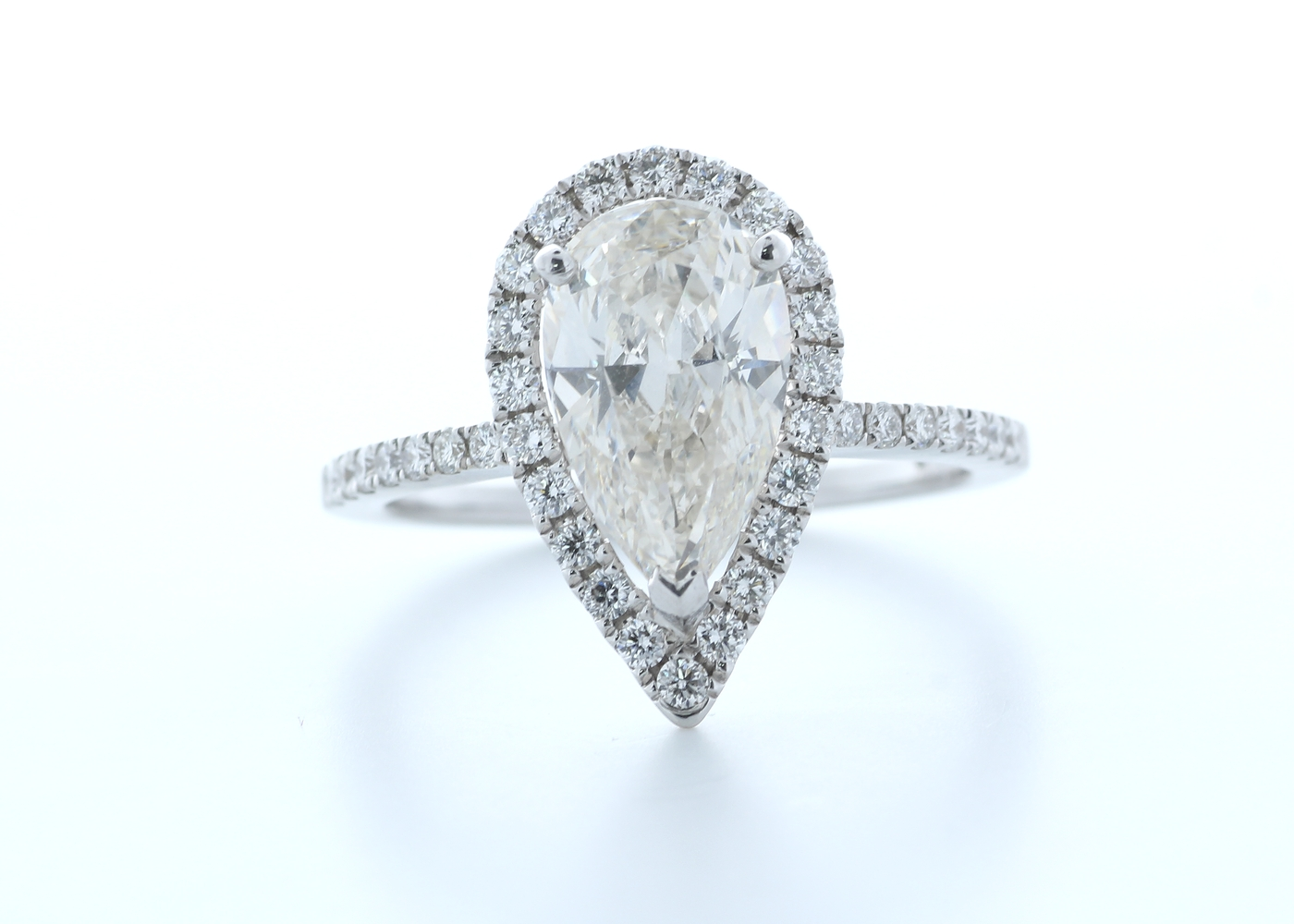 18ct White Gold Single Stone With Halo Setting Ring 2.54 (2.04) Carats