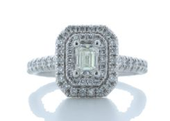 Platinum Single Stone With Halo Setting Ring 0.99 Carats