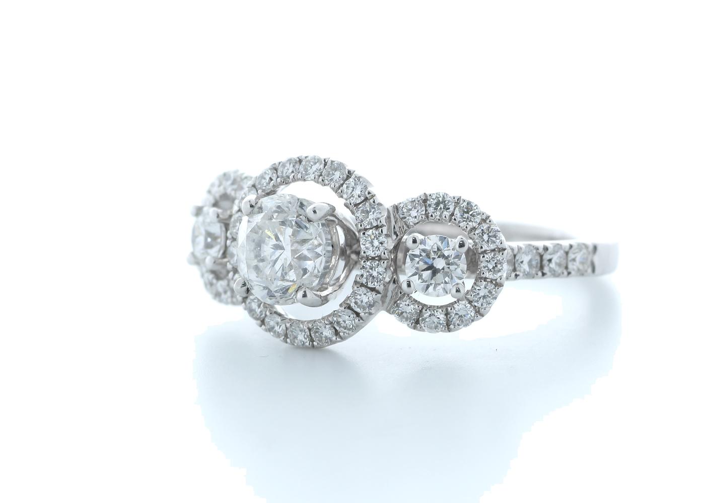 18ct White Gold Three Stone Halo Set Diamond Ring 1.91 Carats - Image 2 of 5