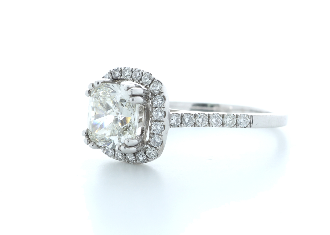 18ct White Gold Single Stone With Halo Setting Ring 2.63 (2.13) Carats - Image 2 of 5