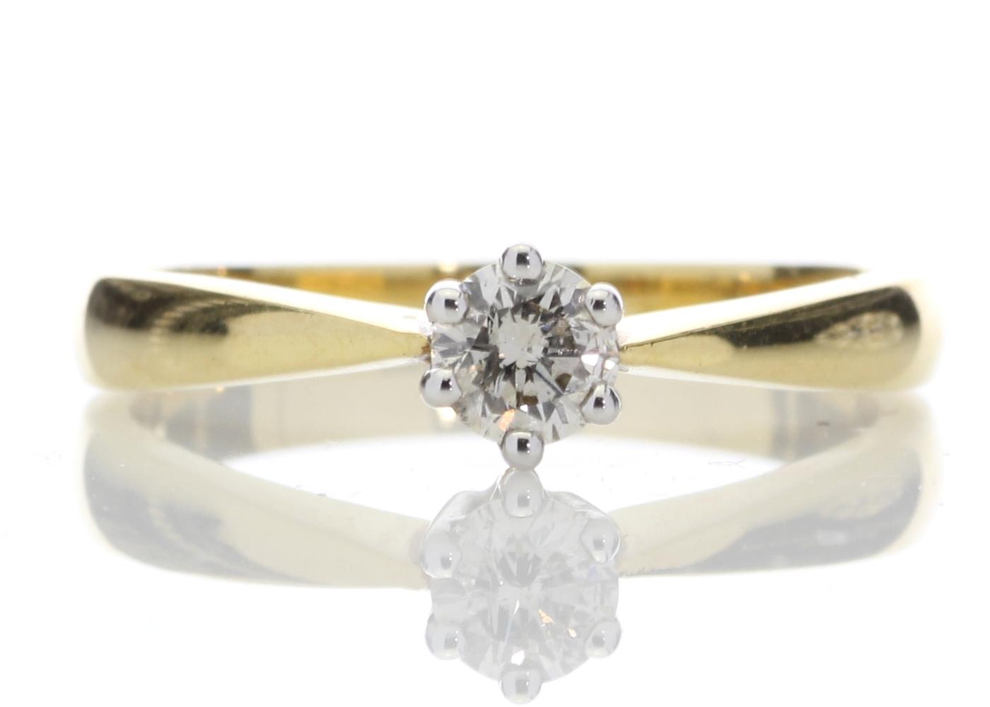 18ct Yellow Gold Six Claw Set Diamond Ring H SI 0.25 Carats