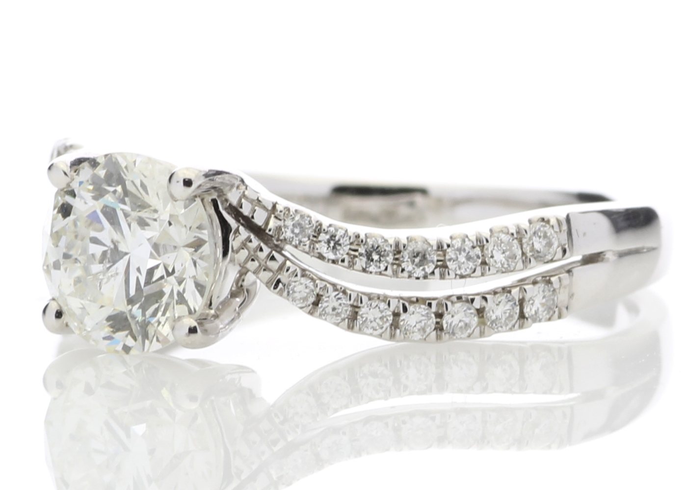 18ct White Gold Solitaire Diamond Ring With Two Rows Shoulder Set 1.31 Carats - Image 2 of 5