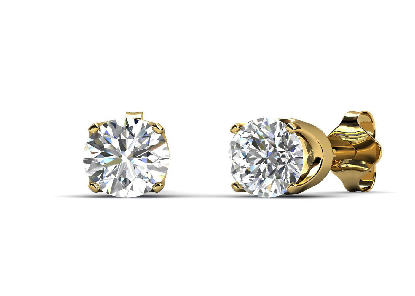 9ct Yellow Gold Claw Set Diamond Earrings 0.33 Carats - Image 3 of 4