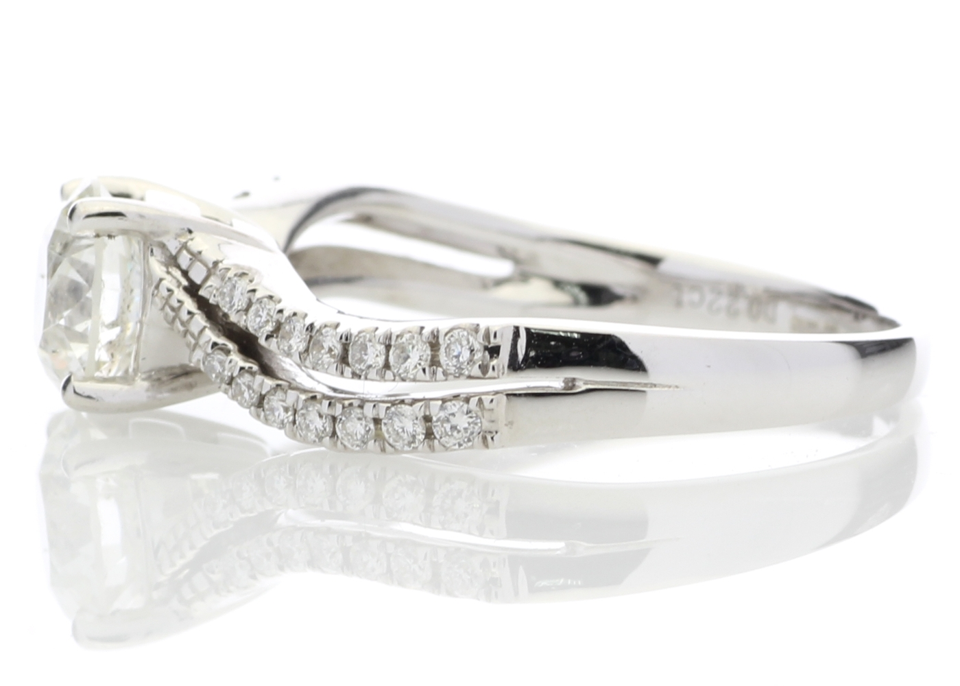 18ct White Gold Solitaire Diamond Ring With Two Rows Shoulder Set 1.31 Carats - Image 3 of 5