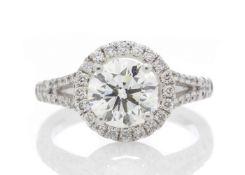 18ct White Gold Halo Set Diamond Ring 1.98 Carats