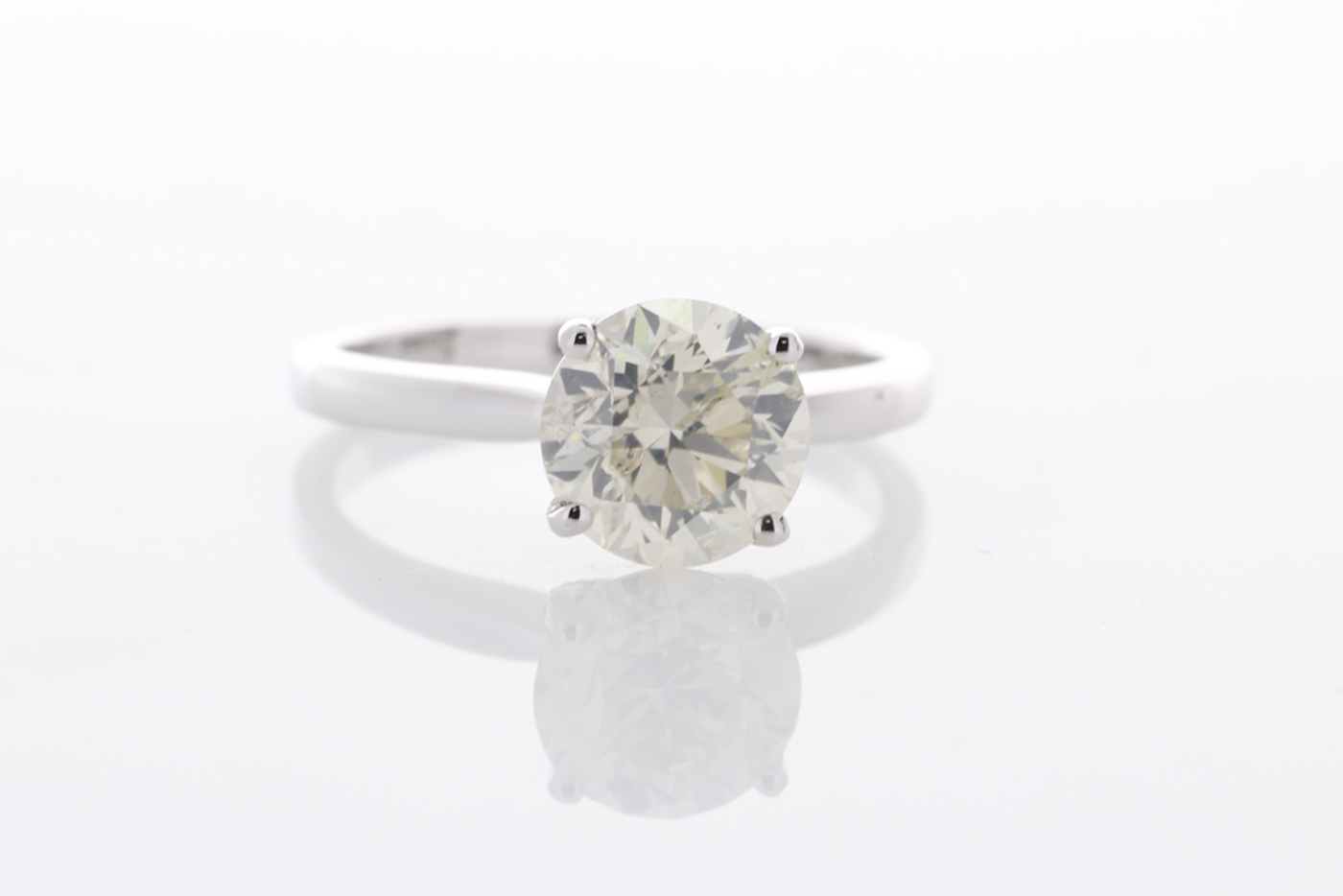 18ct White Gold Single Stone Prong Set Diamond Ring 2.02 Carats