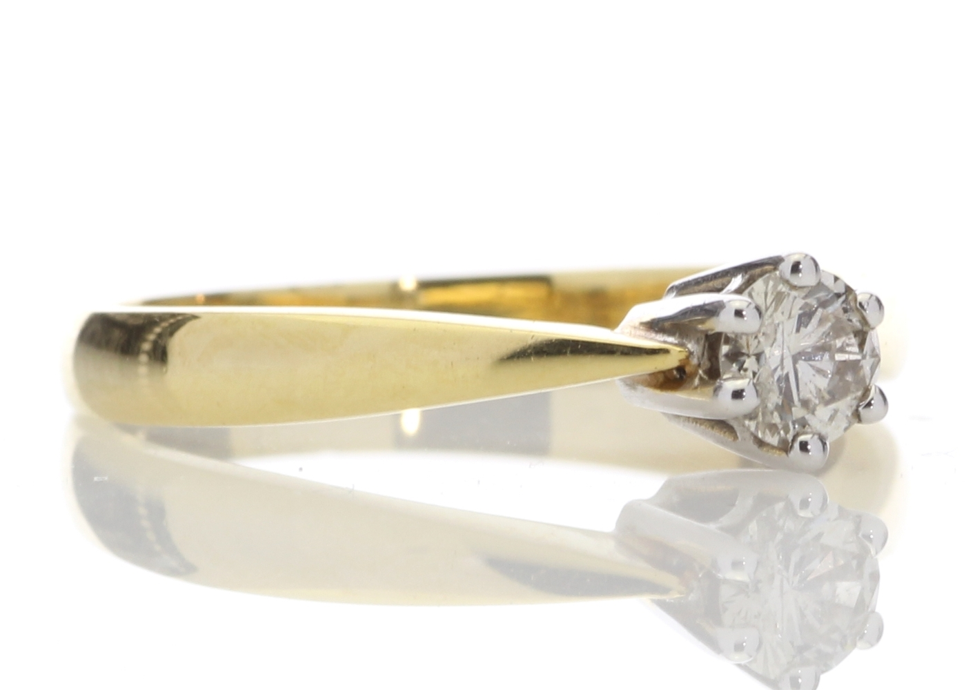 18ct Yellow Gold Six Claw Set Diamond Ring H SI 0.25 Carats - Image 4 of 4