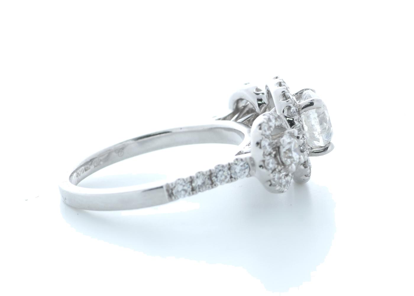 18ct White Gold Three Stone Halo Set Diamond Ring 1.91 Carats - Image 4 of 5