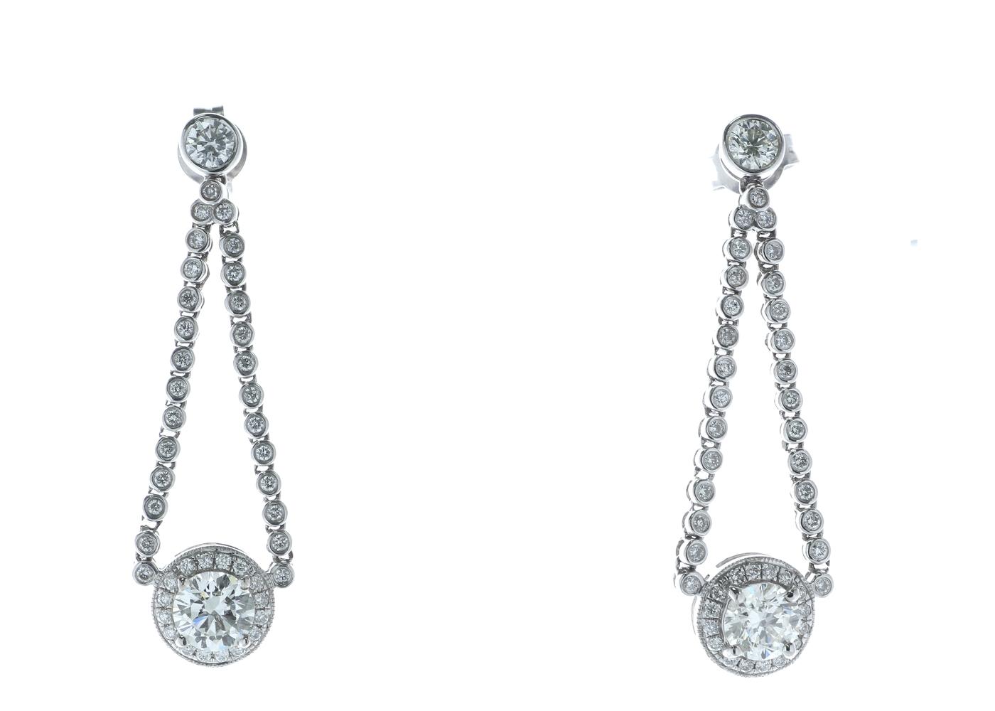 18ct White Gold Diamond Halo Drop Earrings 2.20 Carats