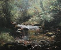 Forrest Stream in Dappled Sun pastel by Scottish artist Robert Turnbull 20th C