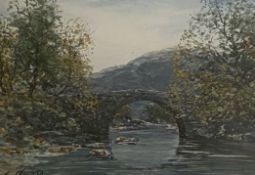 "John Hamilton Glass signed watercolour ""Wades Bridge"" Scottish Highlands"