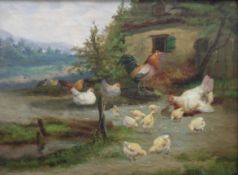 Farmyard Fowl oil painting by J.C. Van Lamputtin 1890s