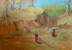 Original signed watercolour by Scottish artist Ralston Gudgeon RSW Pheasants