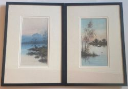 Pair Of Original Signed Watercolours. Continental Sunsets - J Monti
