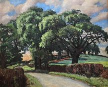 Country Lane oil painting by Jolan Polatschek Williams 1908-1988 Exhibited RA, NEAC, RBA