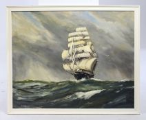 Sailing Ship by E.Watts Oil on Board