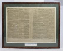 """""""Nelson's Commendation Battle of Copenhagen"""" The Times 1801 Framed"""