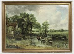 Large Constable The Hay Wain Print Set in Gilt Frame