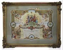 Edwardian Coloured Calligraphic Freemason Artwork Set in Gilt Frame