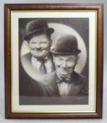 Laurel & Hardy Print Set in Mahogany Frame