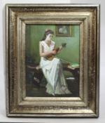 Girl with Violin Painting Oil on Board