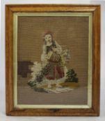 Victorian Tapestry Set in Walnut & Gilt Frame