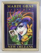 Original 1989 Mardi Gras New Orleans Poster Framed