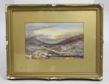Victorian Highlands Watercolour Set in Gilt Frame
