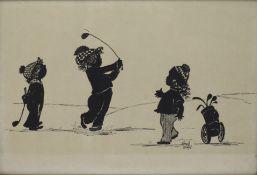 Children Golfing Silhouette Print by Frances Lennon