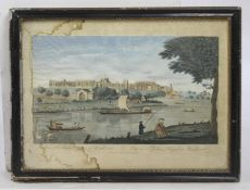 A View of the Royal Palace of Windsor 18th c. Coloured Mezzotint