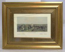 """Saddling"" The Derby Horse Racing Print Set in Gilt Frame"