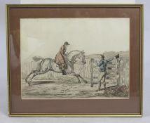 Antique Hunting Print Set in Gilt Frame