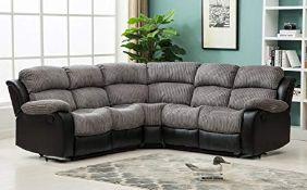 Brand new boxed California reclining corner sofa in black/grey fabric